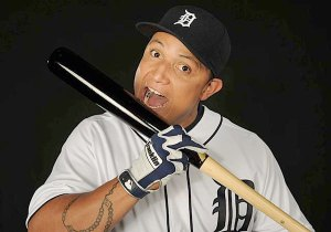 Cabrera, miguel eating bat