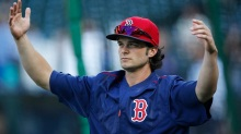 Aug 3, 2016; Seattle, WA, USA; Boston Red Sox left fielder Andrew Benintendi (40) warms up during batting practice before a game against the Seattle Mariners at Safeco Field. Mandatory Credit: Joe Nicholson-USA TODAY Sports