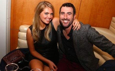 Jan 31, 2014; New York, NY, USA; Kate Upton (left) with Justin Verlander at the GQ Party in the Boom Boom Room at The Standard Hotel. Mandatory Credit: Mark J. Rebilas-USA TODAY Sports